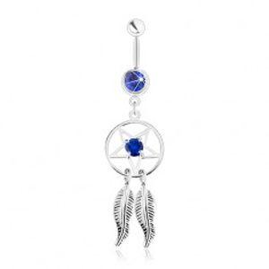 Ocelový piercing do břicha, lapač snů - pentagram, pírka, tmavě modré zirkony SP31.25