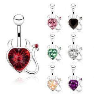 Ocelový piercing do bříška, zirkonové srdce s ocáskem a rohy SP01.27/SP02.02