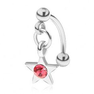 Ocelový piercing do obočí, pěticípá hvězdička s růžovým zirkonem PC17.40