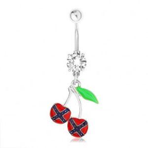 Ocelový piercing do pupíku, třešničky, vlajka konfederace, zelený list PC12.08