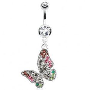 Ocelový piercing do pupku, čirý kamínek, barevný zirkonový motýl S50.01