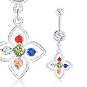 Ocelový piercing do pupíku, stříbrná barva, kvítek zdobený barevnými zirkony SP24.11