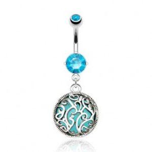 Ocelový piercing do pupíku, tyrkysový kamínek zdobený filigránem, zirkony SP46.23