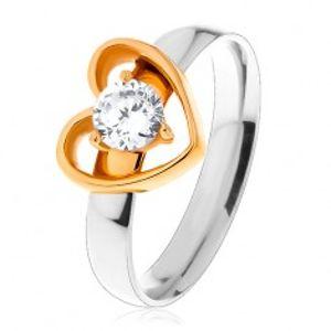 Ocelový prsten - dvoubarevné provedení, tenká kontura srdce, kulatý čirý zirkon S27.18
