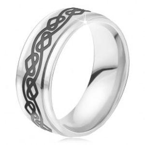 Ocelový prsten - lesklá stříbrná obroučka, zvlněná linie, srdce BB18.04