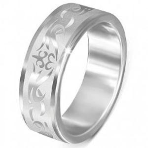 Ocelový prsten - matný s lesklým kmenovým vzorem K18.2