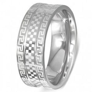 Ocelový prsten - obroučka s řeckým klíčem a šachovnicí E5.5