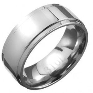 Ocelový prsten - stříbrná obroučka se středovým pásem C25.3