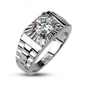 Ocelový prsten - stříbrné paprsky, hodinkový styl F4.7