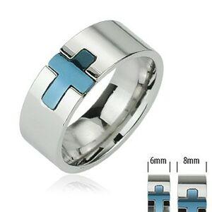 Ocelový prsten - modrý kříž - Velikost: 49