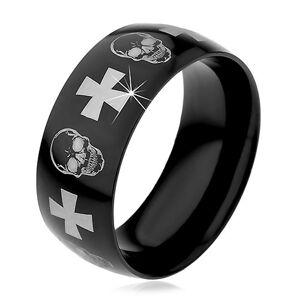 Ocelový prsten s černým povrchem, lebky a kříže stříbrné barvy, 9 mm - Velikost: 72