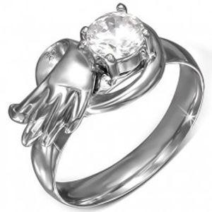 Ocelový prsten s kulatým čirým zirkonem, andělské křídlo BB07.15