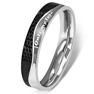 Ocelový prsten - stříbrná a černá barva, vlnovka - Velikost: 57