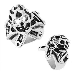 Ocelový prsten stříbrné barvy, vypouklá patinovaná lebka, francouzský klíč - Velikost: 57