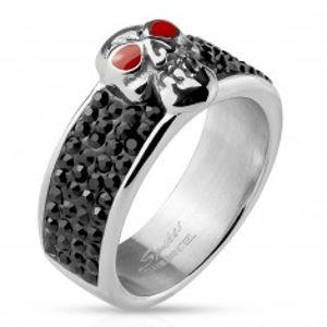 Ocelový prsten stříbrné barvy, lebka s červenýma očima, černé zirkony M15.29