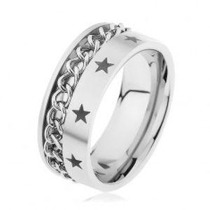 Ocelový prsten stříbrné barvy zdobený řetízkem a hvězdičkami HH10.2