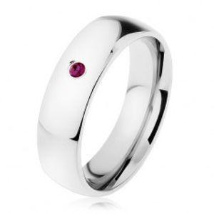 Ocelový prsten, zrcadlový lesk, fialový zirkon, hladká ramena HH10.5