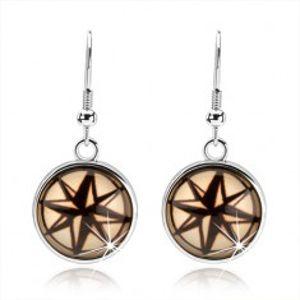 Kruhové náušnice v cabochon stylu, černokrémová hvězda s osmi cípy SP68.05