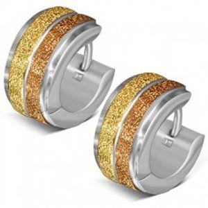 Kruhové náušnice z oceli, dva pískované zlaté pásy S25.16