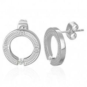 Puzetové kruhové náušnice z chirurgické oceli, stříbrná barva, vsazený čirý zirkon AB27.06