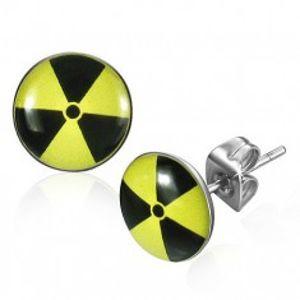 Kulaté ocelové náušnice - žlutočerný nukleární symbol R22.10