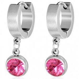Kruhové ocelové náušnice, broušený růžový kamínek v objímce S37.23