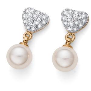 Oliver Weber Pozlacené náušnice s krystaly a perlou Lovely Pearly 22780G