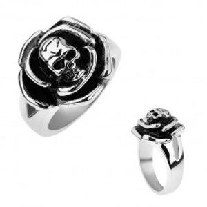 Patinovaný ocelový prsten, růže s lebkou uprostřed, rozdvojená ramena T21.5
