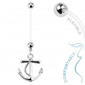 Piercing do bříška z bioflexu pro těhotné ženy, ocelový přívěsek kotva SP42.30