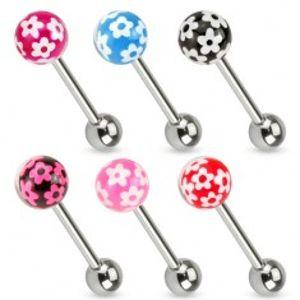 Piercing do jazyku z chirurgické oceli, barevná kulička s kvítky S53.11