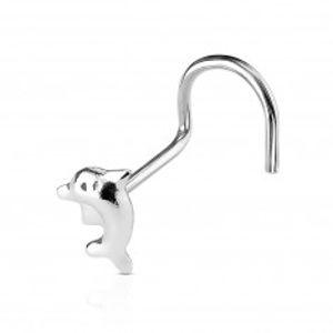Zahnutý piercing do nosu ze stříbra 925 - drobný delfín ve výskoku N34.31