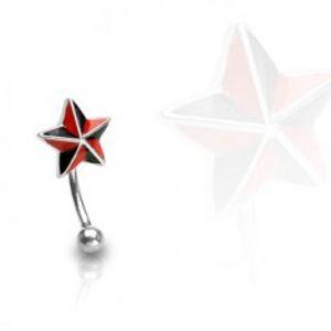 Piercing do obočí - červeno-černá hvězda I3.14