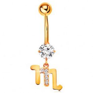 Piercing do pupíku ze žlutého zlata 375 - čirý zirkon, symbol zvěrokruhu - ŠTÍR GG183.19