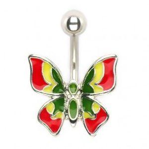 Piercing do pupíku - vícebarevný motýlek I12.28