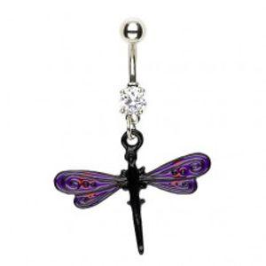 Piercing do pupíku vážka - fialovo černá křídla I8.30