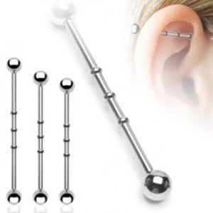 Piercing do ucha se třemi malými obručemi a kuličkovým zakončením C7.7