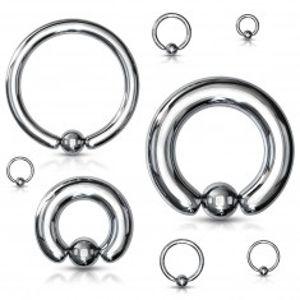 Piercing z oceli 316L - jednoduchý kroužek s kuličkou, stříbrná barva, tloušťka 6 mm S36.29