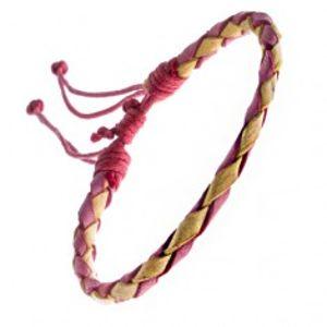 Pletený náramek z kůže - červeno-žlutý pletenec, šňůrky Z12.10
