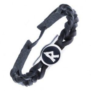 Pletený náramek z kůže - černý, runa smíření a komunikace Z12.20