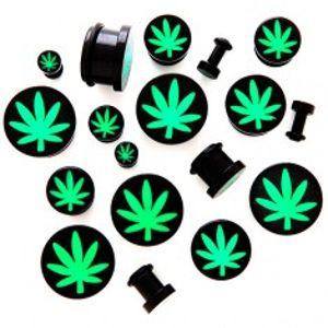 Plug do ucha z akrylu s motivem marihuany C35.4/C35.5