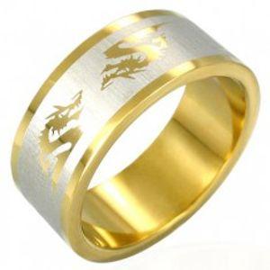Pozlacený ocelový prsten - čínský drak B1.7