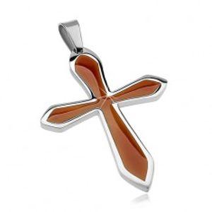 Přívěsek z chirurgické oceli ve tvaru kříže s hnědou glazurou G3.16