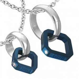 Přívěsky pro dva - modrý čtverec, stříbrný kruh R5.12