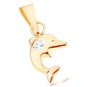 Přívěsek ve žlutém 9K zlatě - malý skákající delfín, kulatý čirý zirkon GG81.11