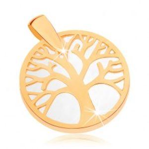 Přívěsek ve žlutém 9K zlatě - strom života v obrysu kruhu, perleťový podklad GG70.05