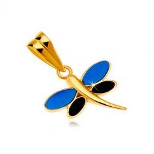 Přívěsek ve žlutém zlatě 585 - vážka s glazurou modré a černé barvy na křídlech GG18.22