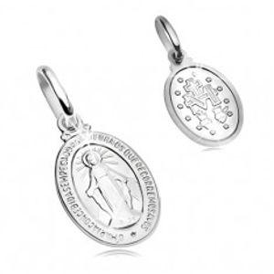 Přívěsek z bílého 14K zlata - oválná známka se symboly Panny Marie GG204.10