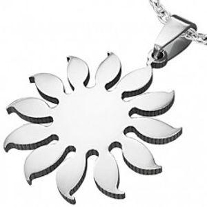 Přívěsek z chirurgické oceli - motiv slunečnice, stříbrná barva AA07.24