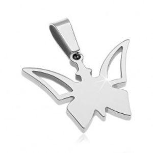 Přívěsek z chirurgické oceli stříbrné barvy, motýlek s výřezy na křídlech AA34.21