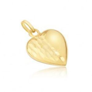 Přívěsek ze žlutého 14K zlata - pravidelné trojrozměrné srdce, ozdobné rýhy GG12.48